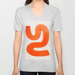 Mid Century Modern Abstract Minimalist Abstract Vintage Retro Orange Watercolor Brush Strokes Unisex V-Neck