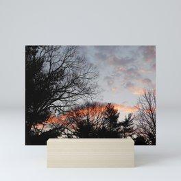 red clouds in the sky Mini Art Print