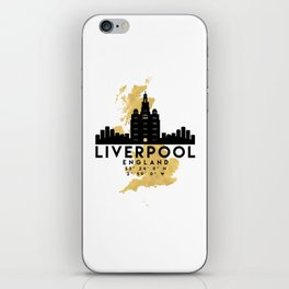 LIVERPOOL ENGLAND SILHOUETTE SKYLINE MAP ART iPhone Skin