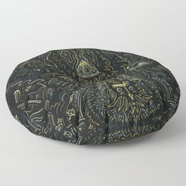 Metallic Drawing by Brian Benson Floor Pillow