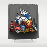digimon Shower Curtains featuring Monsters by Sevie