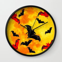 DECORATIVE FULL MOON  FLYING BLACK BATS HALLOWEEN Wall Clock