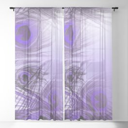 Modern purple lilac abstract peacock feathers gradient Sheer Curtain