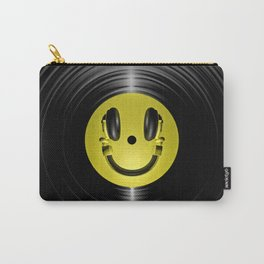 Vinyl headphone smiley Carry-All Pouch