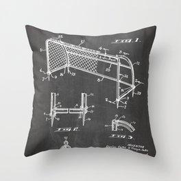 Soccer Patent - Soccer Goal Art - Black Chalkboard Throw Pillow