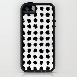 Black and White Minimal Minimalistic Polka Dots Brush Strokes Painting iPhone Case