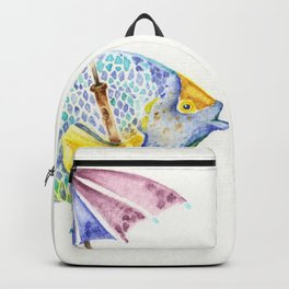Fishy Fish - Original Watercolor of Yellow Mask Angel Fish with Umbrella Backpack