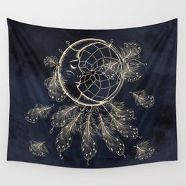 GOLDEN MOON IN DARK NIGHT Wall Tapestry