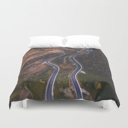Road from above Duvet Cover