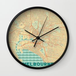 Melbourne Map Retro Wall Clock