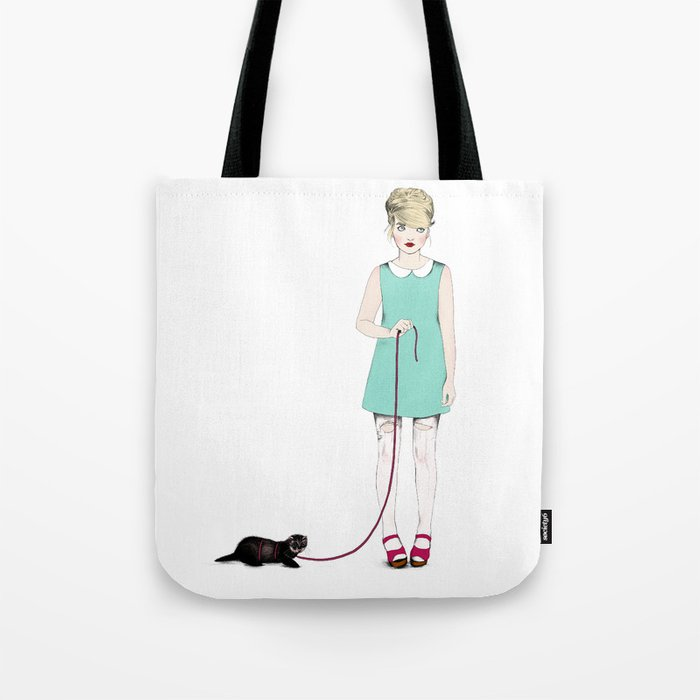 The girl with the ferret Tote Bag