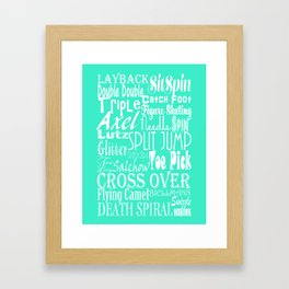 Mint Figure Skating Subway Style Typographic Design Framed Art Print