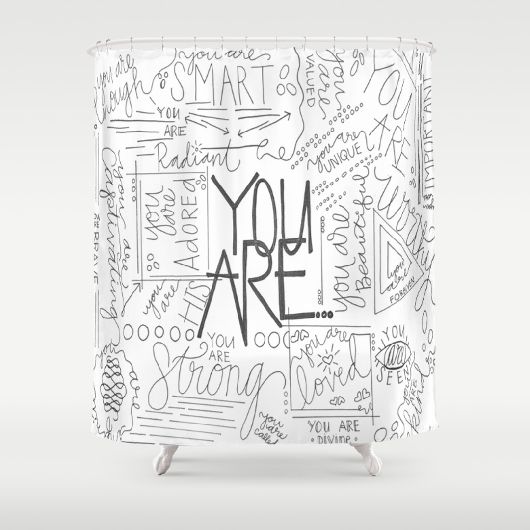 love and typography shower curtains society6