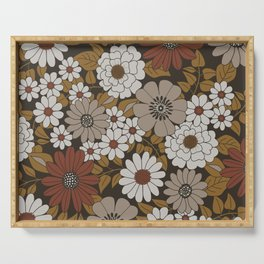 Brown, Orange, and Ivory Retro Flower Pattern Serving Tray