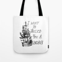 larry stylinson Tote Bags featuring I want to build you a boat. Harry Styles. Tattoo. (Larry Stylinson) by Arabella