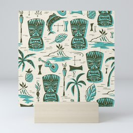 Tropical Tiki - Cream & Aqua Mini Art Print