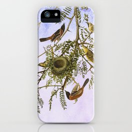Sky Blue Pink with birds iPhone Case