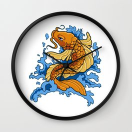 Retro Asian Koi Fish Product Japaneses Carp Koi Pond Print Wall Clock