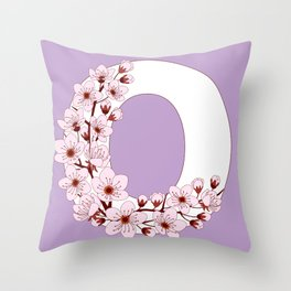 Colorful capital letter O patterned with sakura twig Throw Pillow