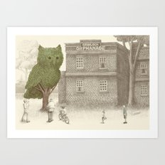The Night Gardener - Owl Topiary  Art Print