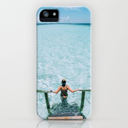 Young woman going down the stairs to the sea iPhone Case