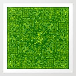 Mayan Spring GREEN / Ancient Mayan hieroglyphics mandala pattern Art Print