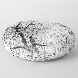 Abstract Black and White Tree Photograph Floor Pillow