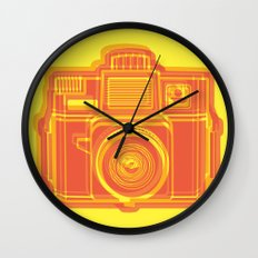 I Still Shoot Film Holga Logo - Yellow & Red Wall Clock