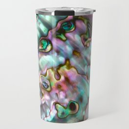 Glowing Cotton Candy Pink & Green Abalone Mother of Pearl Travel Mug