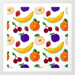 happy fruits and berries Art Print