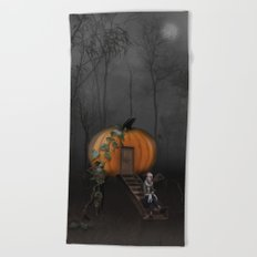 Halloween! Where is the rabbit? Beach Towel