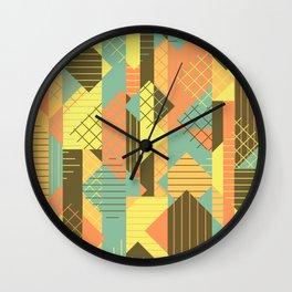 Squares Grids Stripes I (Modern Retro Color Palette) Wall Clock