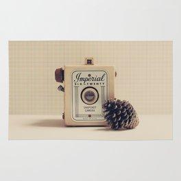 Retro Camera and Pine Cone Rug