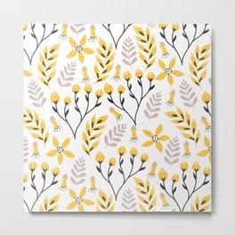 Mod Floral Yellow Gray Metal Print
