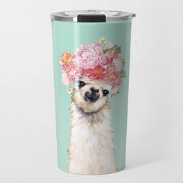 Llama with Flowers Crown #3 Travel Mug