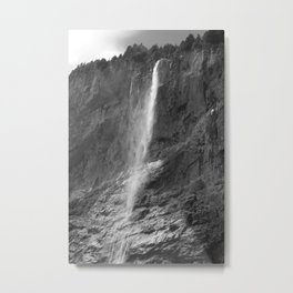 Staubbach Waterfall, Lauterbrunnen, Switzerland, monochrome Metal Print