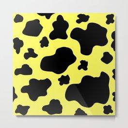 Cow Print Pattern / White / Black / GFTCowPrint002 / Yellow Background  Metal Print