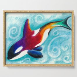 Orca Whale Oil Pastel Teal Swirls Serving Tray