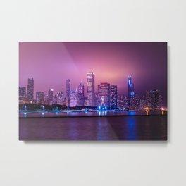 Purple Haze over Chicago Skyline Metal Print