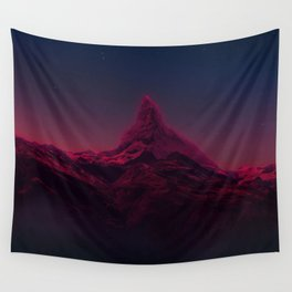 Pink mountains at night Wall Tapestry