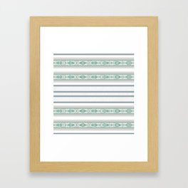 Decorative Teal Grey Stripe Pattern Framed Art Print