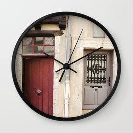 Two Doors in France Wall Clock