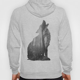Wolf Silhouette | Forest Photography | Black and White Hoody