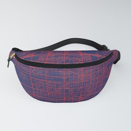 Fontana, CA, USA, Blue, White, City, Map Fanny Pack