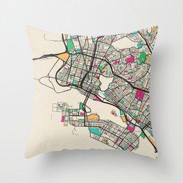 Colorful City Maps: Oakland, California Throw Pillow