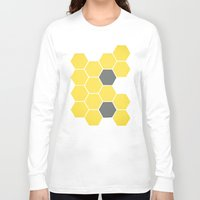 honeycomb Long Sleeve T-shirts featuring Yellow Honeycomb by Cassia Beck