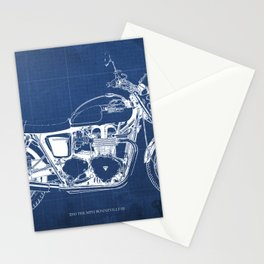 2010 Triumph Bonneville SE, motorcycle blueprint, husbands gift, offer, original poster, fathers day Stationery Cards