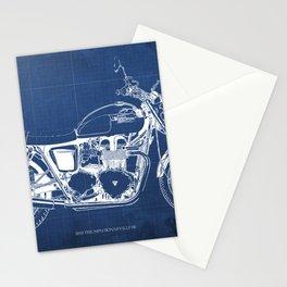 2010 Triumph Bonneville SE, motorcycle blueprint, husbands gift, offer, original poster, fathers day Stationery Cards