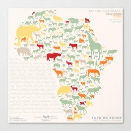 Endangered Safari - with animal names Canvas Print