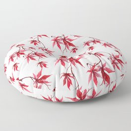 Watercolor Botanical Red Japanese Maple Leaves on Solid White Background Floor Pillow